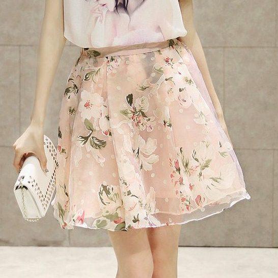 **สินค้าหมด Skirt319 กระโปรงผ้าชีฟองสีชมพูลายดอกไม้มีซับในซิปหลังเอวสม็อคยางยืด งานน่ารัก แมทช์กับเสื้อได้หลายแบบ
