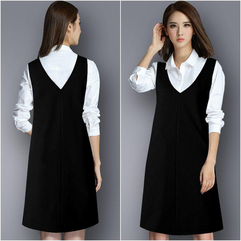 **สินค้าหมด Set_bs1586 ชุด 2 ชิ้น(เสื้อ+เอี๊ยม) เสื้อเชิ้ตคอปกแขนยาวผ้าไมโครสีพื้นขาว เอี๊ยมกระโปรงคอวีสีพื้นดำ ซิปข้าง กระเป๋าข้าง ผ้าโพลีเอสเตอร์เนื้อดีหนาเรียบสวย งานสวยน่ารักแมทช์กันได้อย่างลงตัว เซ็ทสองชิ้นสวยคุ้ม