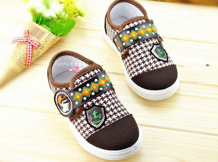 รองเท้าคัชชูผ้า แฟชั่นเด็กชาย สีน้ำตาล Size 28-33