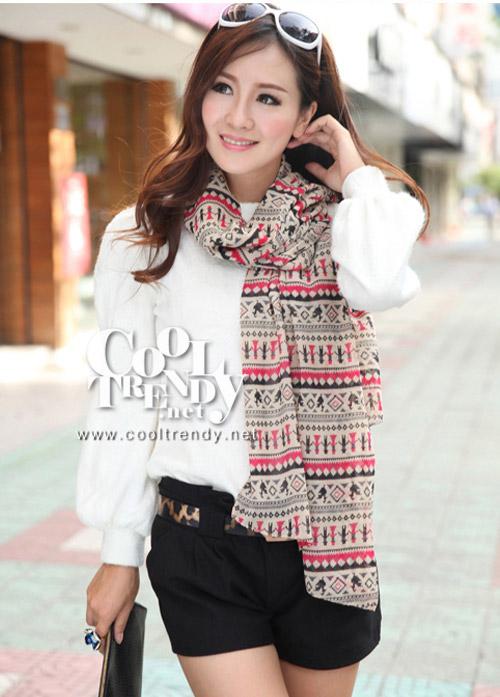 ผ้าพันคอโบฮีเมียน Nordic ethnic : สีแดงครีม ผ้า chiffon size 160 x 60 cm