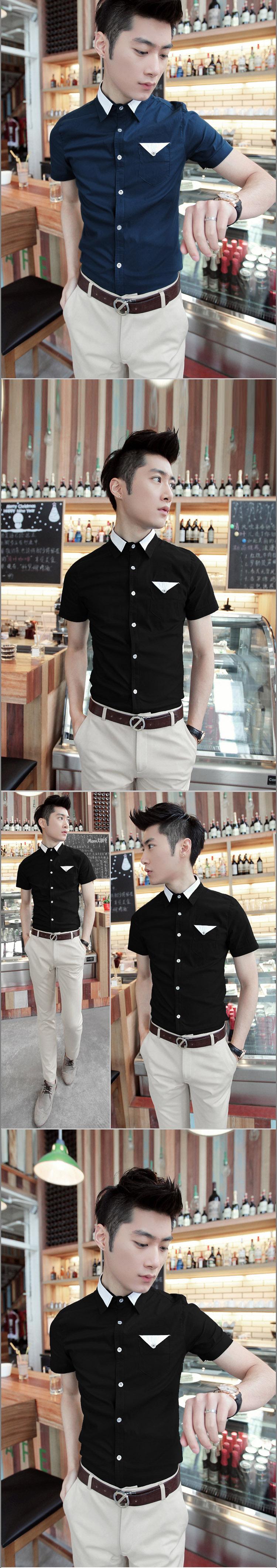 เสื้อผ้าผู้ชาย | เสื้อเชิ้ตผู้ชาย เสื้อเชิ้ตแฟชั่นชาย แขนสั้น แฟชั่นเกาหลี