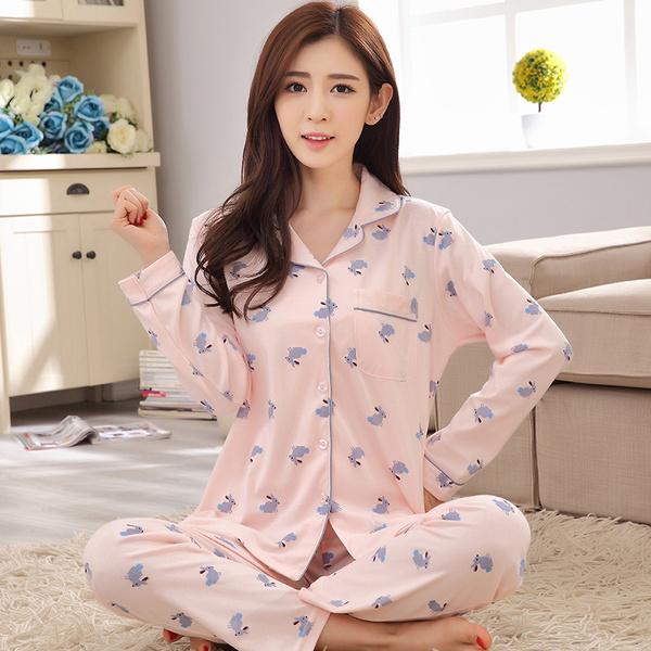 ชุดนอนผ้าฝ้ายไซส์ใหญ่ แขนยาว-ขายาว ปกเชิ้ต สีชมพูลายน้องกระต่าย (XL,2XL,3XL)