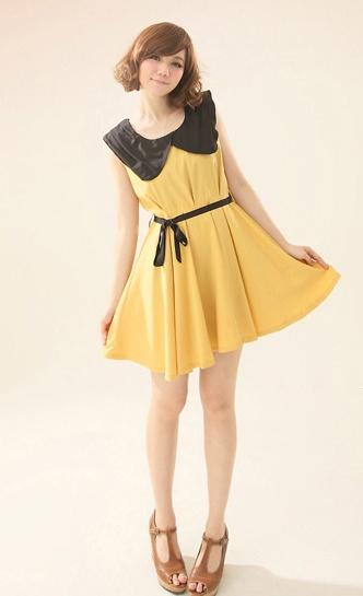 """""""พร้อมส่งค่ะ""""เสื้อผ้าแฟชั่นสไตล์เกาหลีราคาถูก Brand Catworld เดรสแขนกุดสีเหลืองมัสตาร์ด ปกดำ ซิปหลัง มีผ้าผูกเอวสีดำให้ ไม่มีซับในค่ะ"""