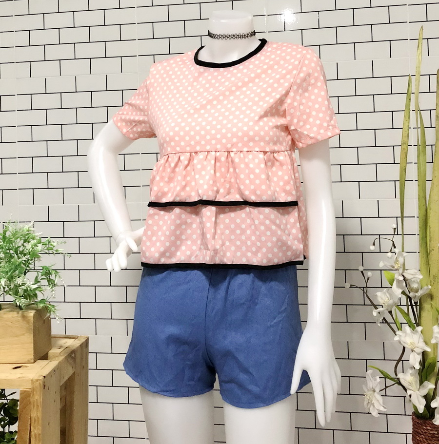 ส่ง:ชุด2ชิ้น/เสื้อแต่งระบาย2ชั้นน่ารักอก34+กางเกงยีนส์เอวยืด20-32