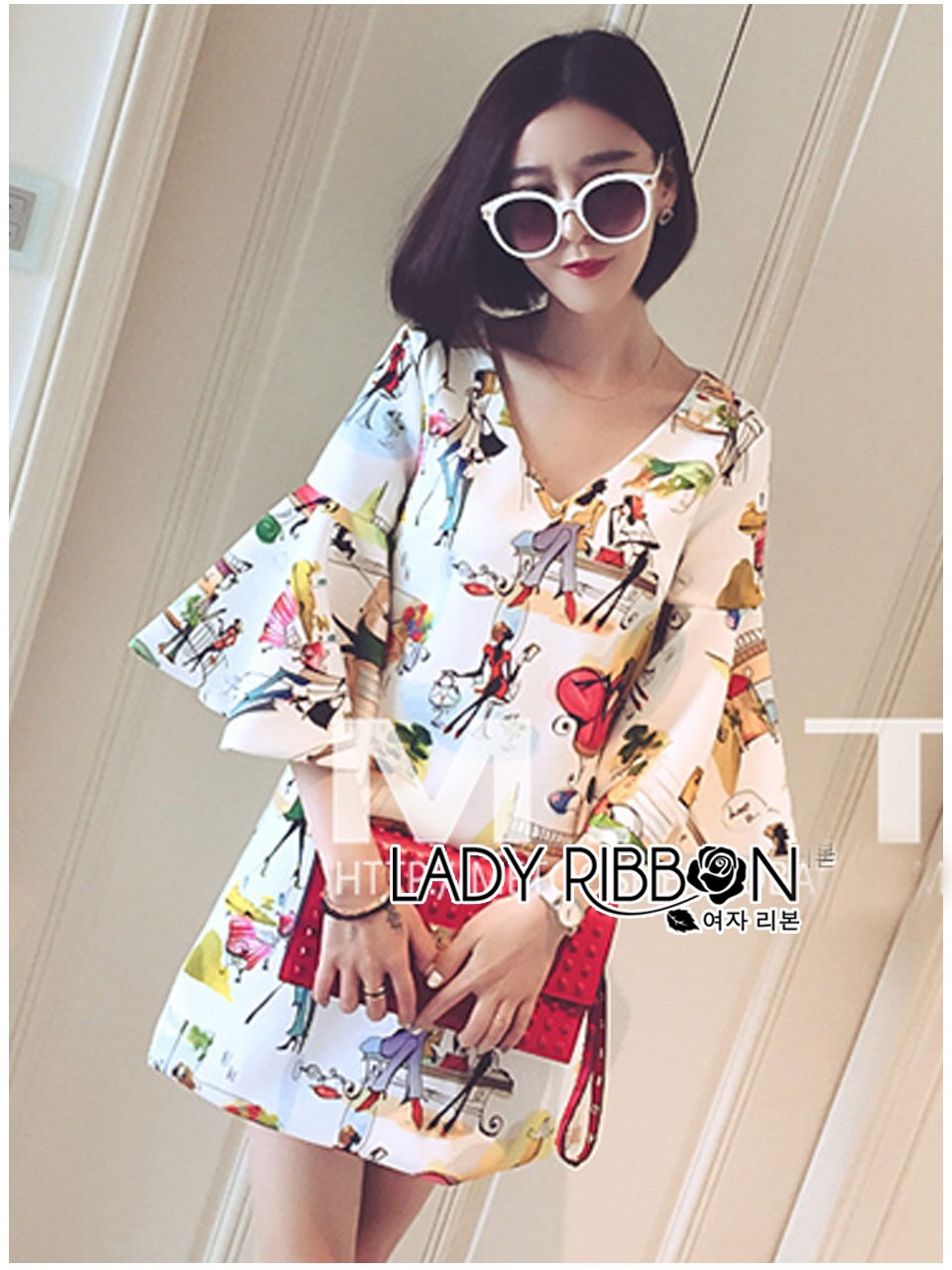 Lady Ribbon's Made Lady Anne Funky Flared-Sleeve Printed Dress