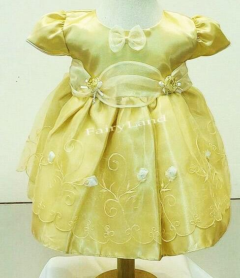 ชุดเสื้อผ้าเด็กแฟชั่นผ้าไหมแก้วสีทองใส่ออกงานแบบน่ารัก