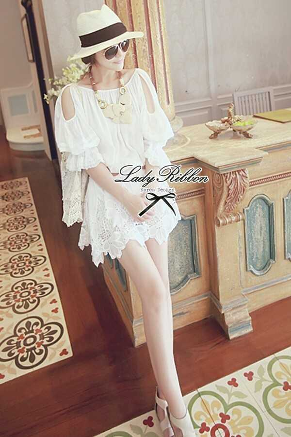 Lady Ribbon's Made Lady White Abby, Floral Off-shoulder Mini dress