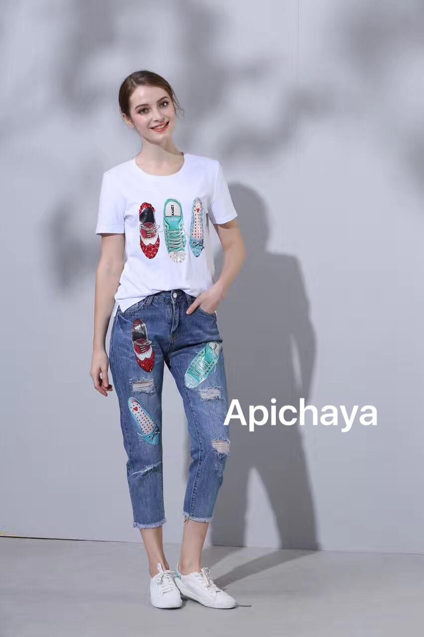 เสื้อผ้าเกาหลีพร้อมส่งชุด set 2 ชิ้น เสื้อยืด+กางเกงยีนส์ขายาว