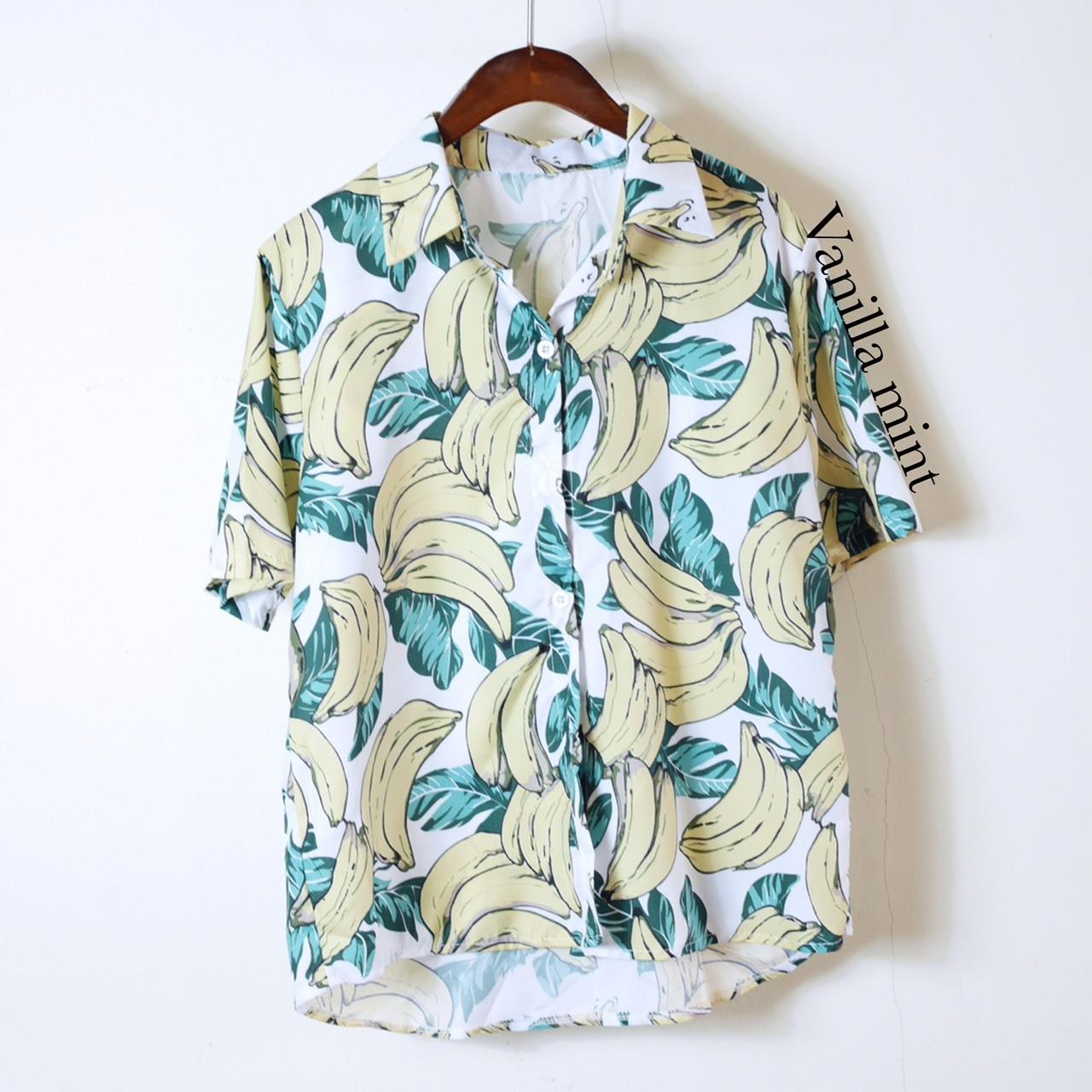เสื้อผ้าแฟชั่นพร้อมส่ง เสื้อเชิ้ตพิมพ์ลายกล้วยหอม