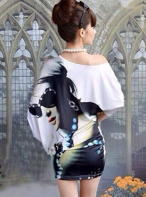 ( พร้อมส่งเสื้อผ้าเกาหลี) เดรสผ้าคอตตอนผสมผ้าสแปนเนท..ผ้ายืดเนื้อดีพิมพ์ลายผู้หญิงสุดSEXYสวมใส่แล้วโดดเด่นที่สุดค่ะ พิมพ์ลายชัด สวยที่สุดค่ะ