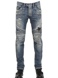กางเกงBalmain Blue Destroyed Biker Jeans