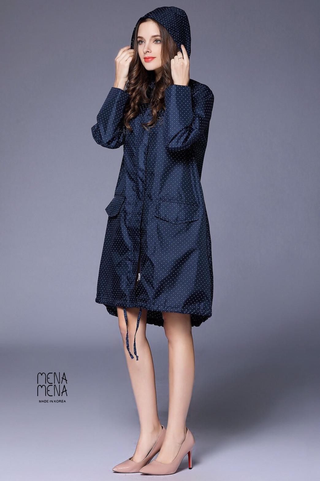 เสื้อผ้าเกาหลีพร้อมส่ง เสื้อกันฝนญี่ปุ่น เนื้อผ้าโพลีเอสเตอร์เคลือบteflon