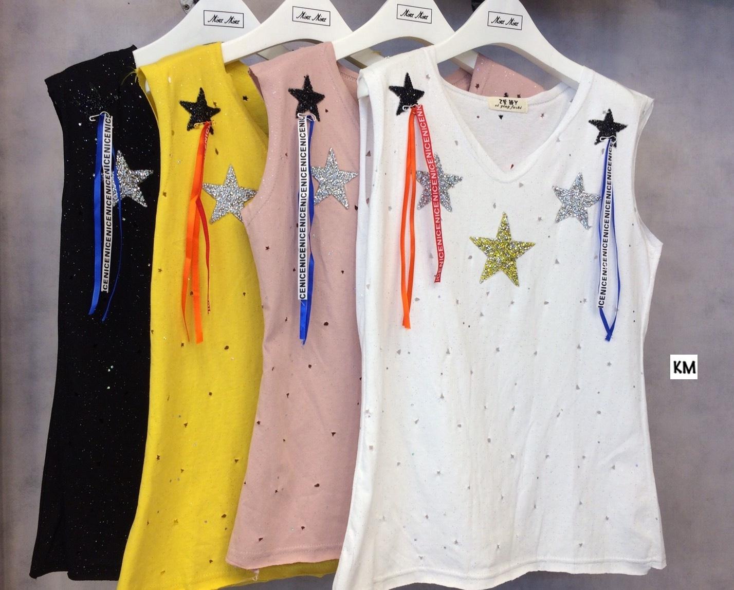 เสื้อผ้าเกาหลีพร้อมส่ง เสื้อยืดคอวีแขนกุด แต่งเพชรสีๆรูปดาว +เข็มกลัด