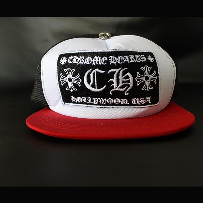 หมวกCHROME HEARTS RED BLACK TRUCKER CAP 1:1