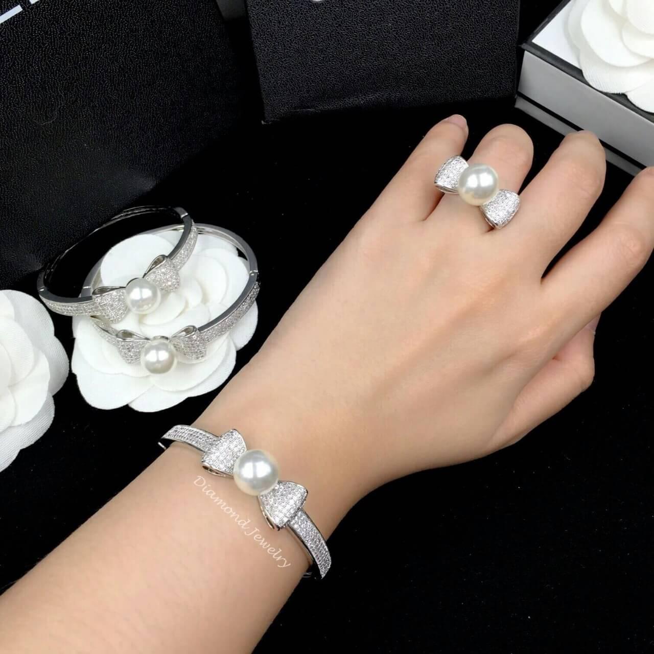 พร้อมส่ง Pearl Bracelet & Ring กำไลเพชร CZ แท้ประดับมุก