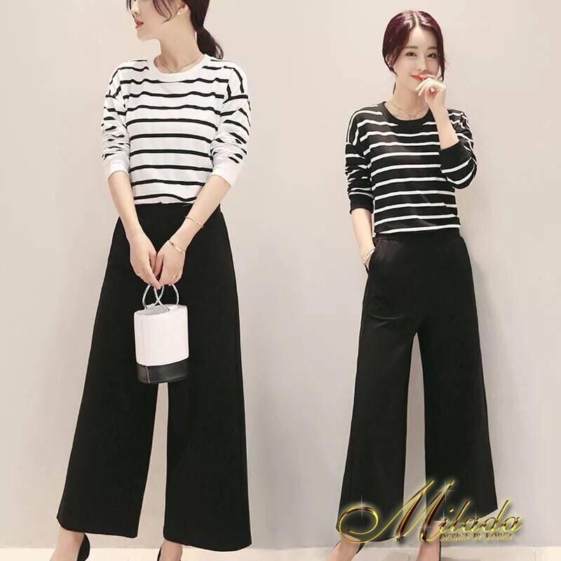 เสื้อผ้าเกาหลีพร้อมส่ง ชุด Set 2 ชิ้น เสื้อคอกลม แขนยาวลายขวาง+กางเกงขายาว 9 ส่วน