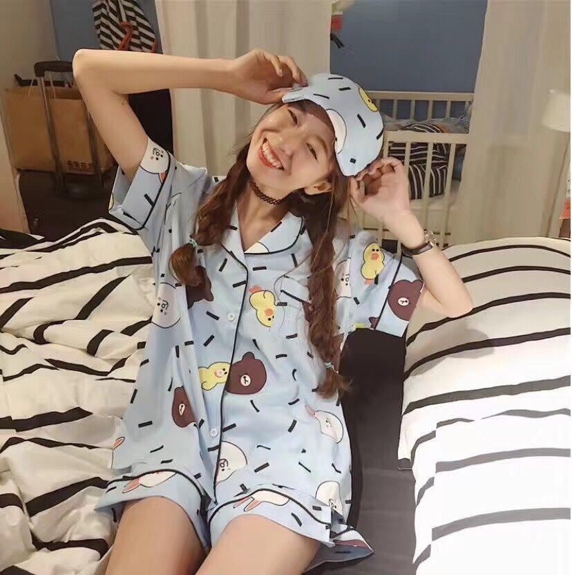 เสื้อผ้าเกาหลีพร้อมส่งชุดนอนลายการ์ตูน เซตชุดนอน 3 ชิ้น