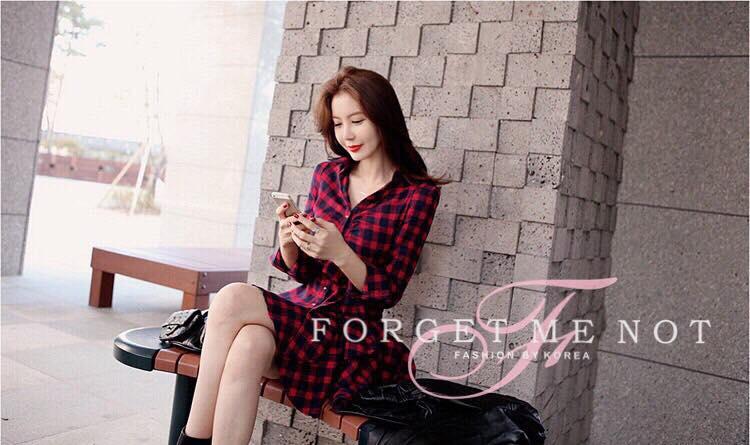 เสื้อผ้าเกาหลี พร้อมส่ง Mini Dress ลายสกอต สุดชิคค่ะ นำเข้าจาก korea ผ้าคอตตอน เนื้อนิ่ม