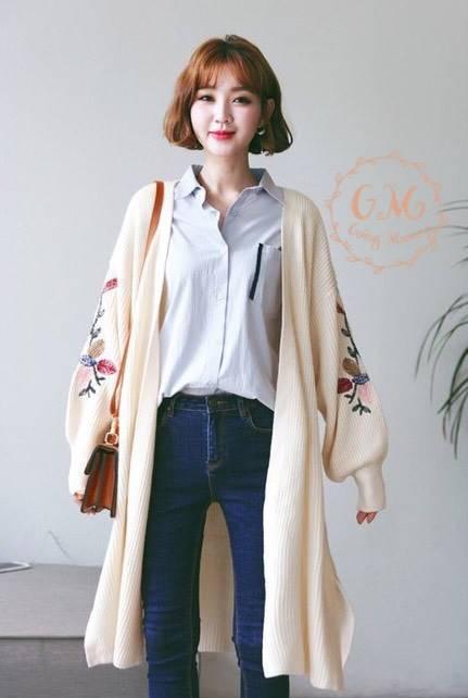 เสื้อผ้าเกาหลีพร้อมส่ง เสื้อคลุมตัวยาว ผ้าไหมพรมเนื้อดี