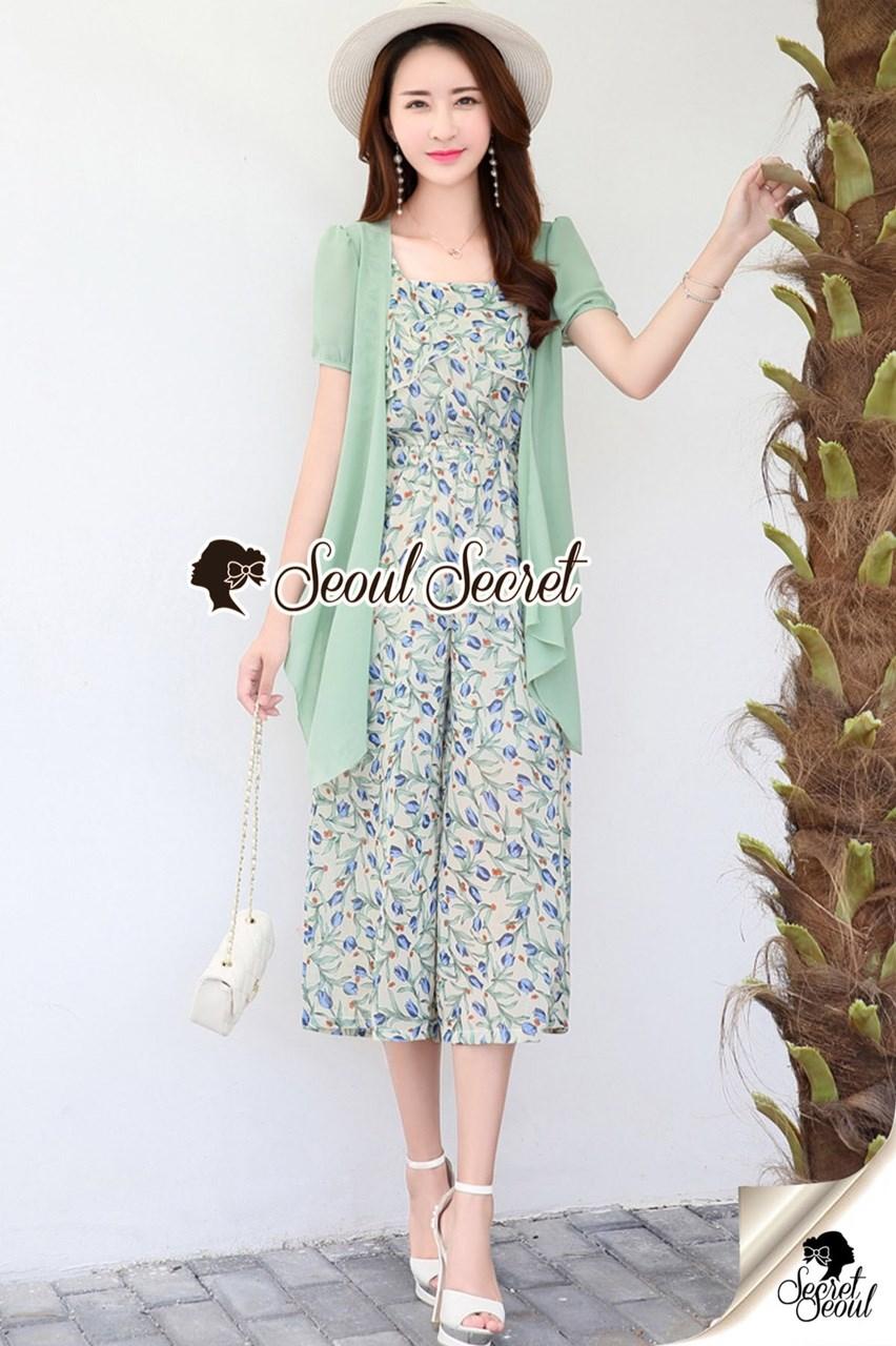 เสื้อผ้าเกาหลีพร้อมส่ง Vintage Style Suit High Green Classic