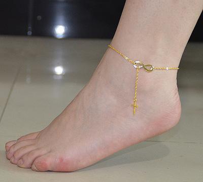 สร้อยข้อเท้าเกาหลี Golden cross bow ornament