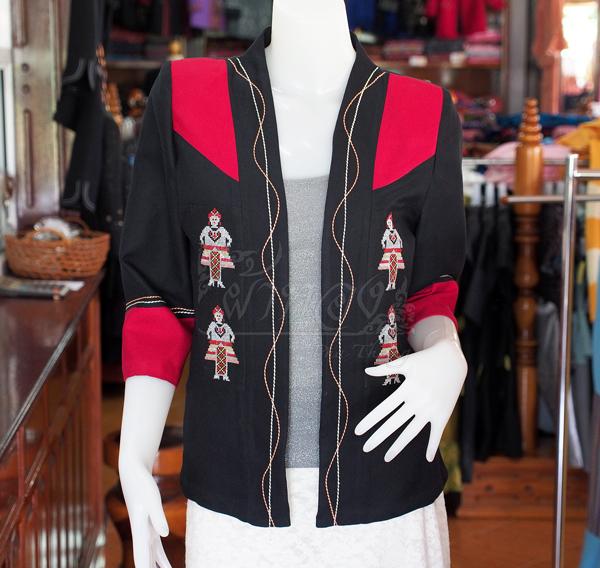 เสื้อคลุมผ้าฝ้ายสุโขทัยสีดำแต่งผ้าปักมือ ไซส์ L