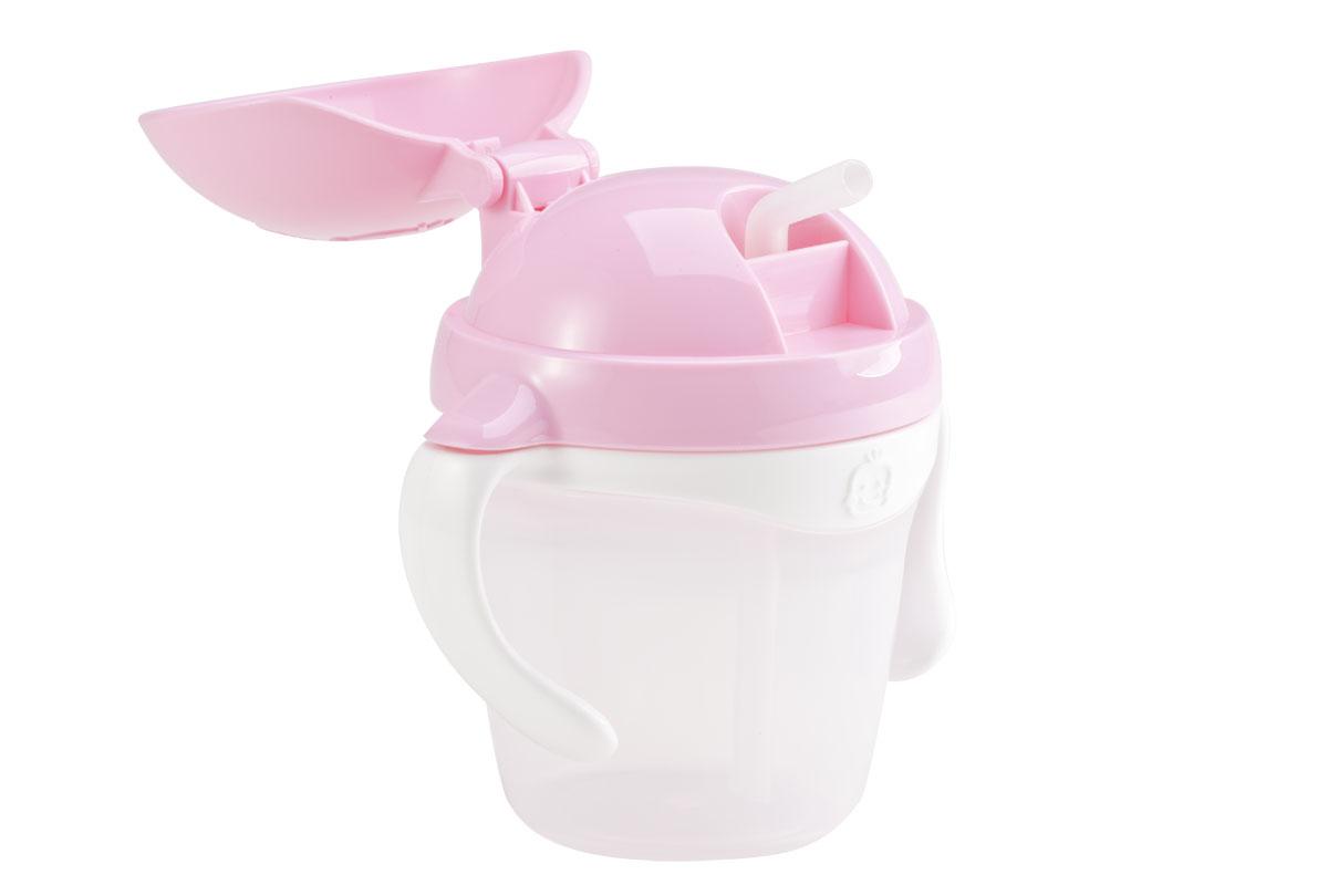 KK-14 ถ้วยหัดดูดหลอด Kido Straw Cup Step 3 (9 เดือน+) สีชมพู
