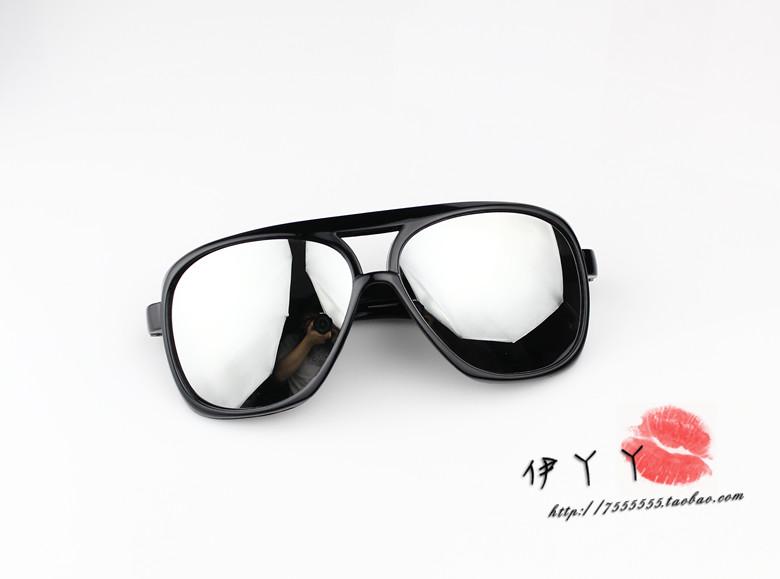 แว่นตากันแดดแฟชั่นเกาหลี กรอบดำมันเลนส์ปรอทกระจก