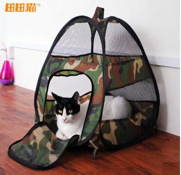 MU0015 เต๊นท์นอนแมว ตาข่าย ลายพรางทหาร ระบายอากาศได้ดี CAMOUFLAGE CAT TENT
