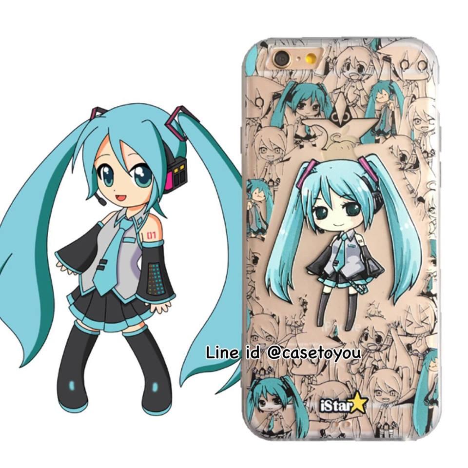 เคสใส สกรีนลายเส้นนูน Miku iPhone 6 Plus/ 6S Plus