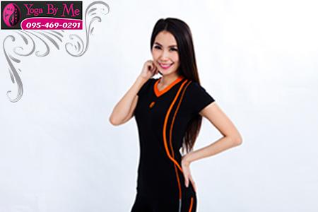 AC701-11 เสื้อโยคะแขนสั้น ผ้าค๊อตต้อนสเปนเด็กซ์ สีดำ/ส้ม