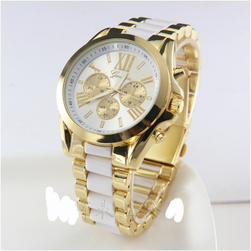 geneva Quartz watches women นาฬิกาผู้หญิง แบรนด์ของฮ่องกง ระบบควอทด์ กันน้ำ กันสนิม สีขาว
