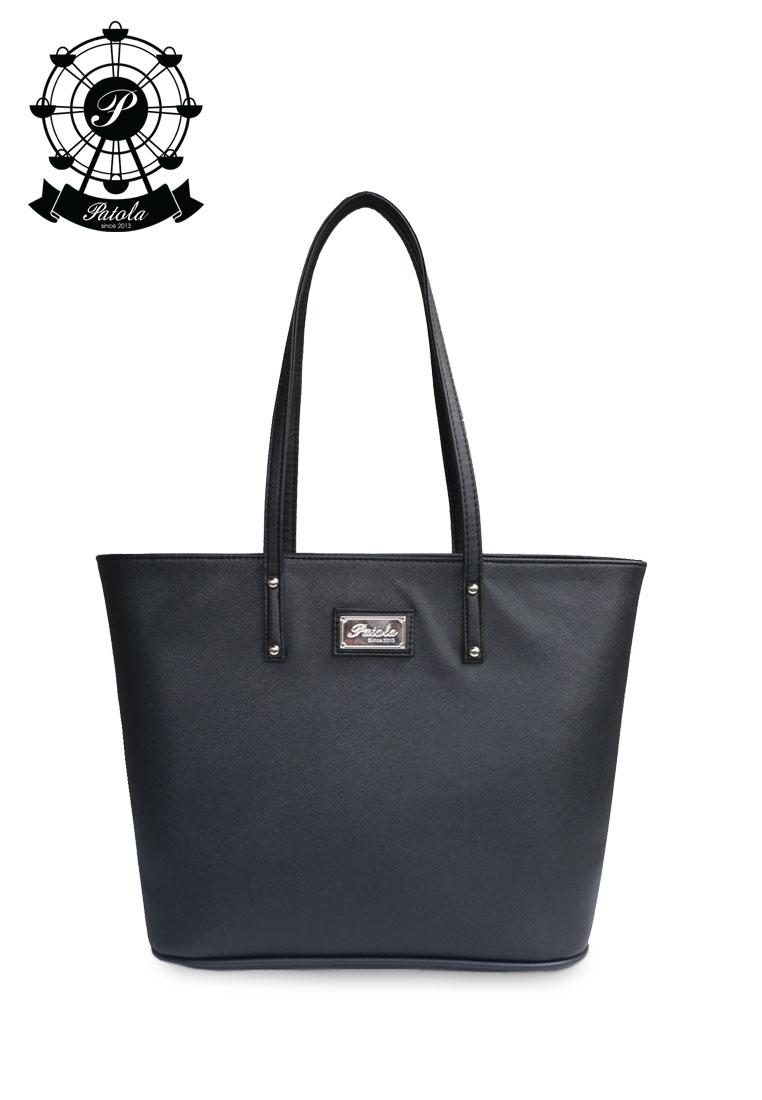 กระเป๋า Patola รุ่น M totebag หนังsaffiano สีดำ