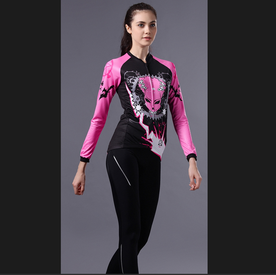 ชุดปั่นจักรยานผู้หญิง เสื้อปั่นจักรยานแขนยาว พร้อมกางเกงปั่นจักรยานแขนยาว อย่างดี