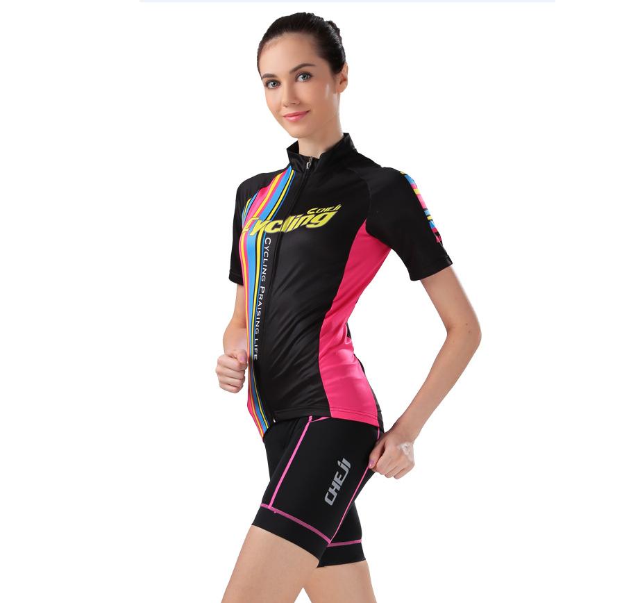 ชุดปั่นจักรยานผู้หญิง cheji 001 เสื้อปั่นจักรยาน พร้อมกางเกงปั่นจักรยาน