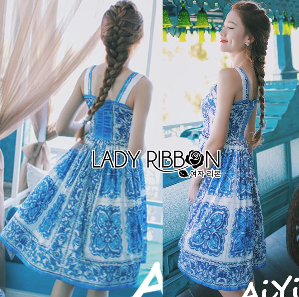 Dolce & Gabbana Italian White & Blue Printed Button-Down Dress L241-69B02