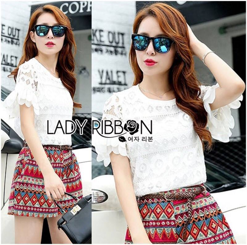 Lady Jessie Tribal Lace Top and Colourful Printed Shorts with Belt Set L177-85E07