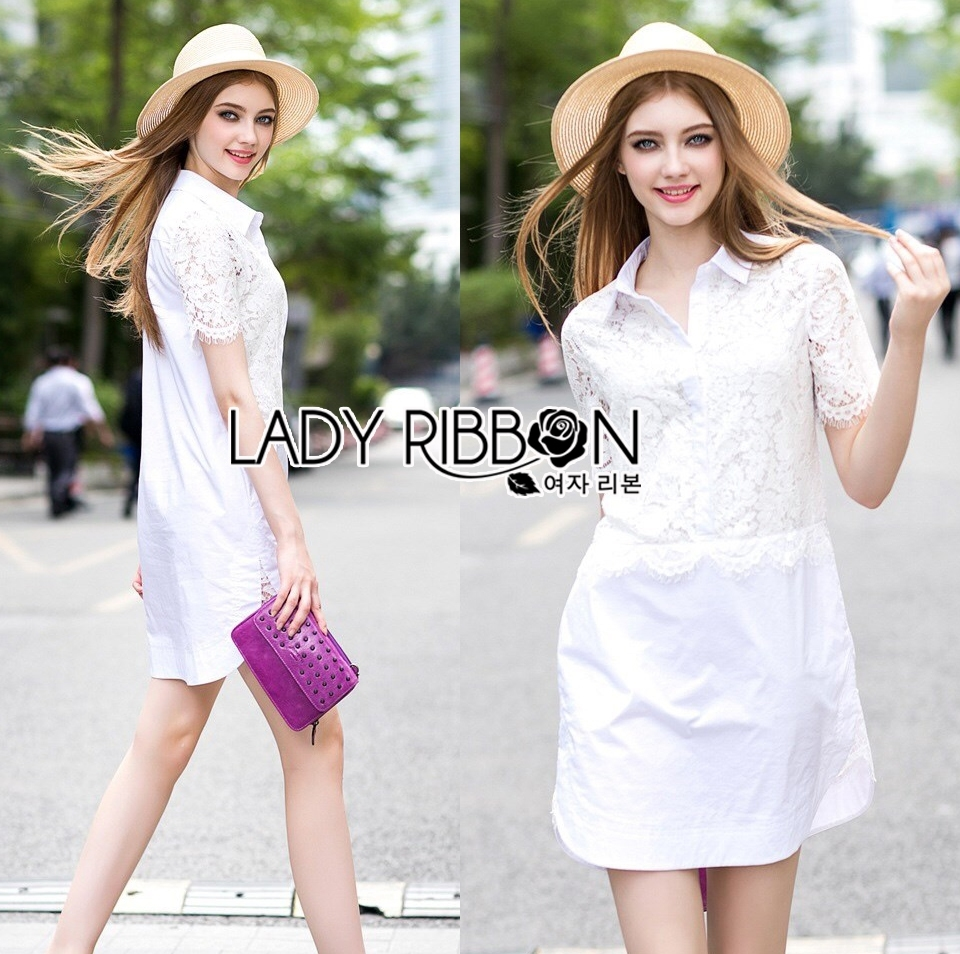Lady Katie Casual Feminine Lace and Cotton Shirt Dress L201-69C03