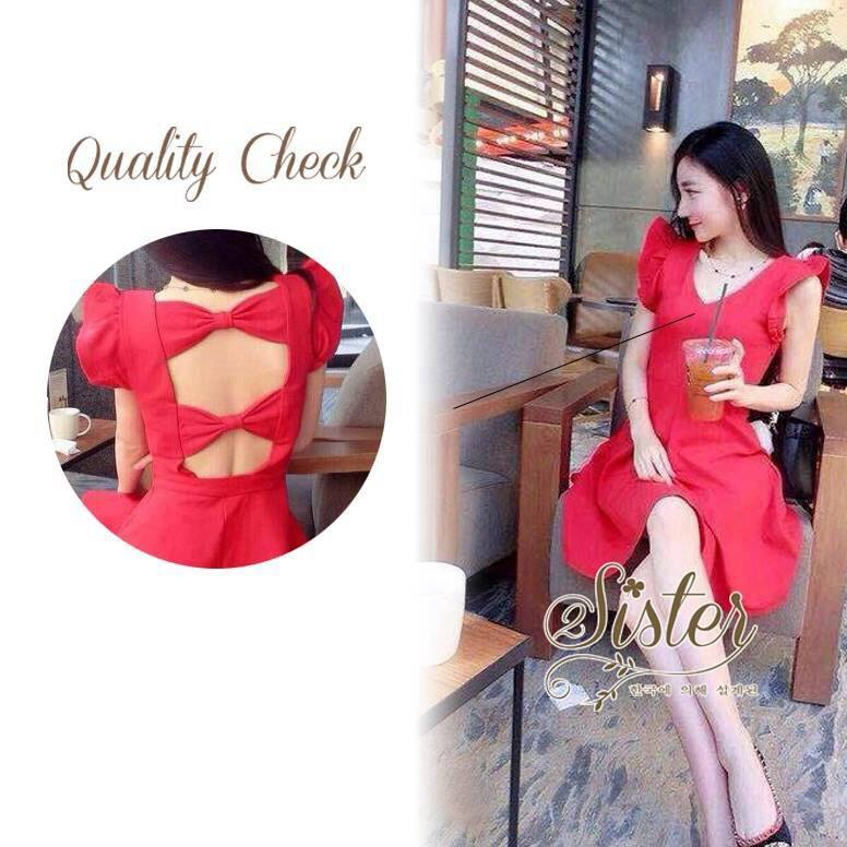 3Colorful Dress with Ribbon Back สีแดง S140-75C08