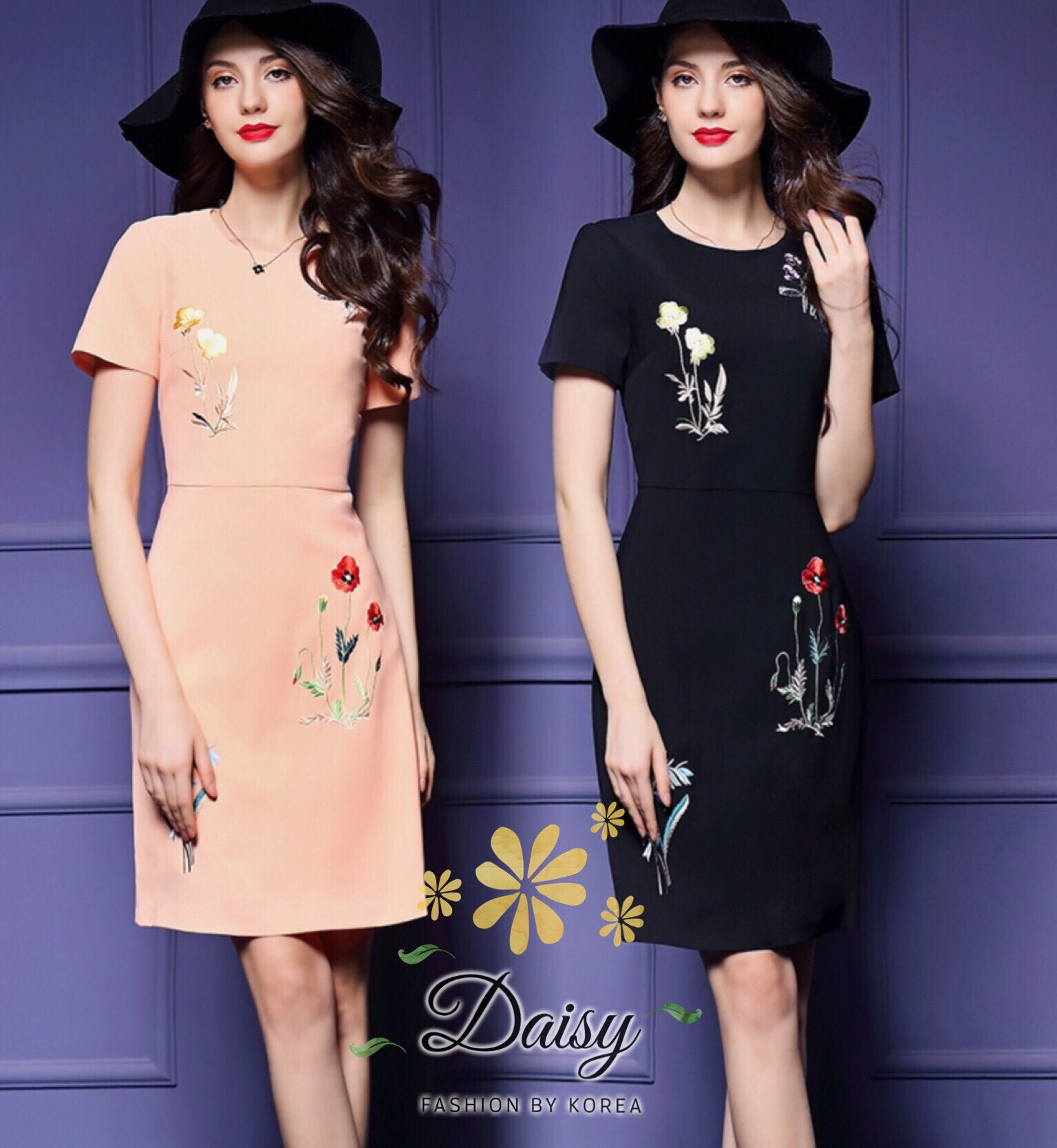 Daisy with satin texture smooth fabric lining dress