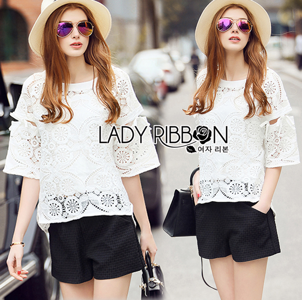 Lady Natasha Classic Vintage Lace Blouse with Cotton Ribbons L257-69C08