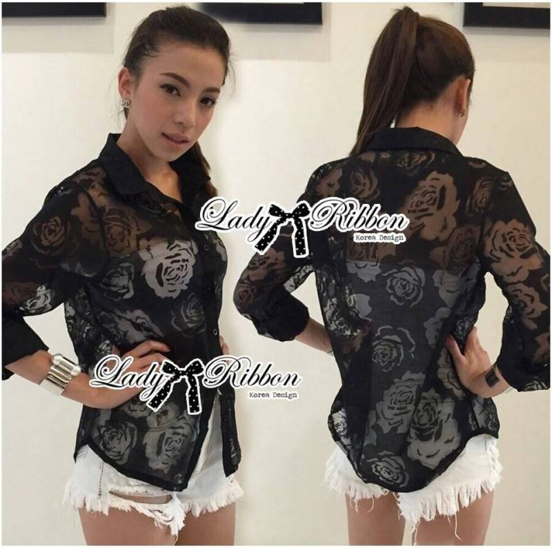 Lady Rose Sexy See-Through Organza Shirt L134-55A08