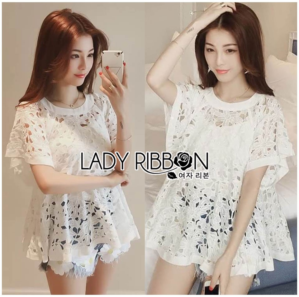Lady Romy Romantic White Guipure Lace and Cotton Top L265-7507