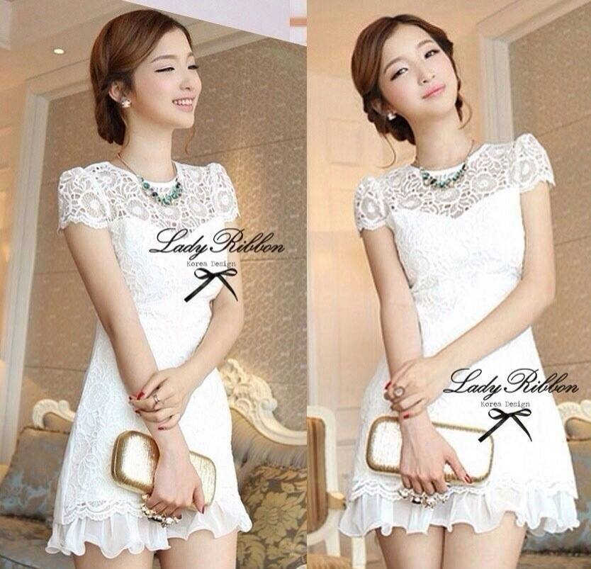 DR-LR-053 Lady Pure White Blossom Embroidery Gala Mini dress