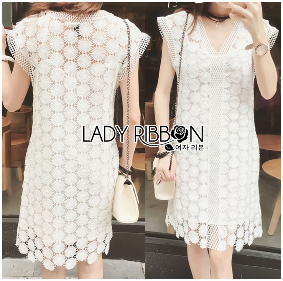 Lady Ellie Casual Chic White Daisy Lace Dress L268-7506