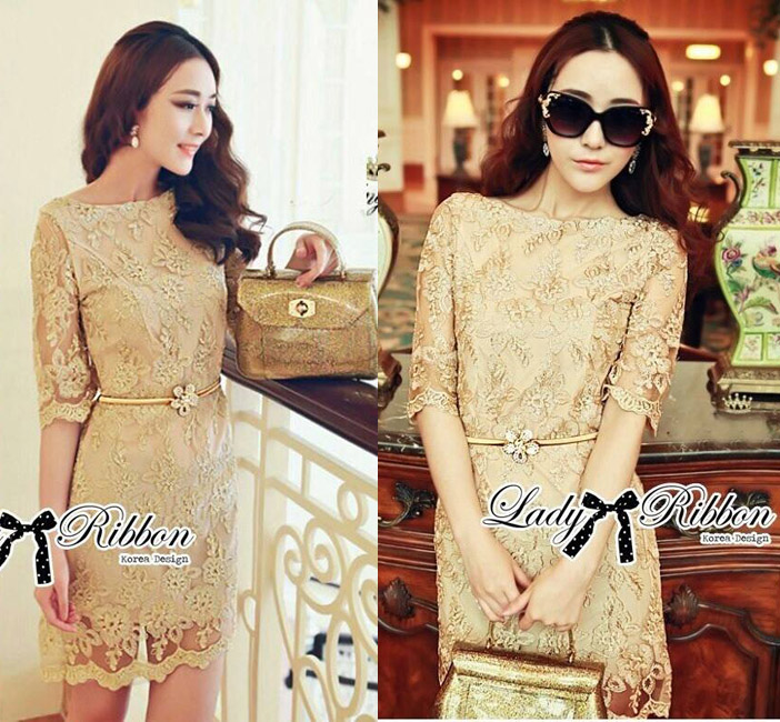 DR-LR-070 Lady Sarah Gorgeous and Elegant Brocade Lace Dress