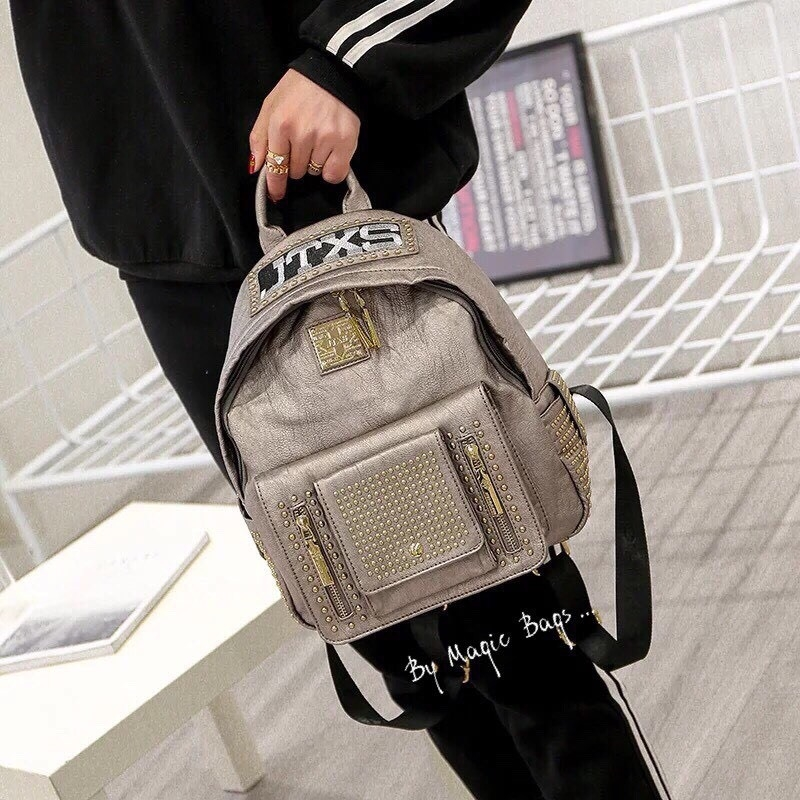 กระเป๋าเป้ Size M สีเทา JTXS Backpack bag D.I.Y Denim Jeans spring summer high quality mead in Hong Kong 2017...งานแท้นะคะ