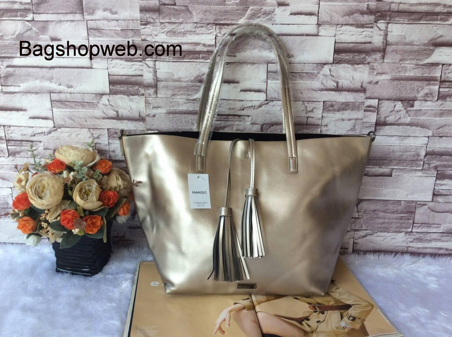 กระเป๋า MNG Shopper bag สีบรอนด์เงิน กระเป๋าหนัง เชือกหนังผูกห้วยด้วยพู่เก๋ๆ!! จัดทรงได้ 2 แบบ