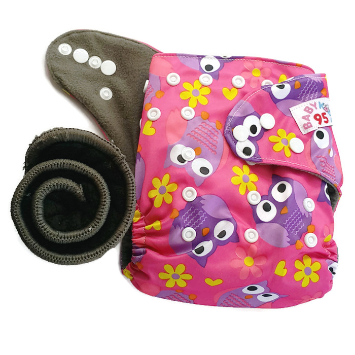 กางเกงผ้าอ้อมชาโคลขอบปกป้อง แถมแผ่นซับชาโคลหนา5ชั้น 1แผ่น