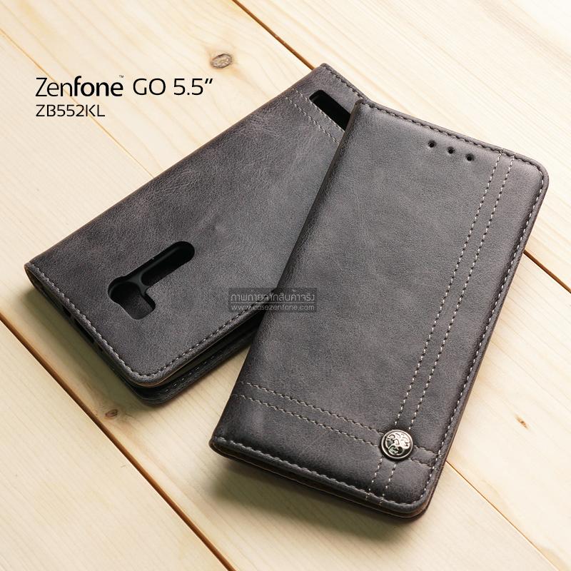 เคส Zenfone GO 5.5 นิ้ว (ZB552KL) เคสฝาพับเกรดพรีเมี่ยม ลายหนัง พร้อมช่องใส่บัตรด้านใน (พับเป็นขาตั้งได้) สีเทา (หมุดเหล็ก)